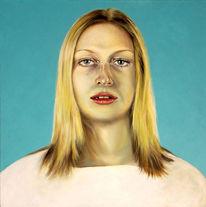 Acrylmalerei, Frau, Türkis, Portrait