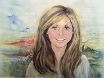 Junges mädchen, Pastellmalerei, Portrait, Aquarellmalerei