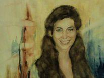 Aquarellmalerei, Portrait, Junges mädchen, Malerei