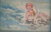 Wasser, Nach foto, Aquarellmalerei, Kind
