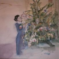 Weihnachten, Aquarellmalerei, Weihnachtsbaum, Stimmung