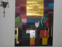 Haus, Landschaft, Acrylmalerei, Malerei