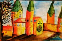 Kirche, Aquarellmalerei, Bunt, Orange