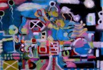 Mischtechnik, Malerei, Zwischenwelten, Durcheinander
