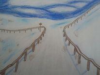 Landschaft, Weg, Pastellmalerei, Malerei