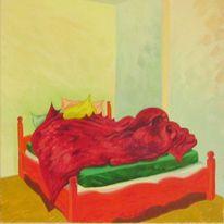 Malerei, Stillleben, Bett