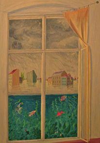 Berlin, Regen, Fische, Malerei