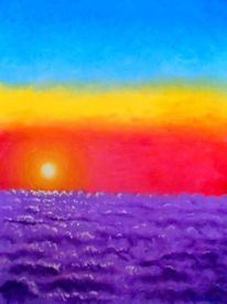 Malerei, Sonnenuntergang, Barcelona