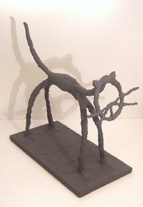 Installation, Holz, Metallskulptur, Draht