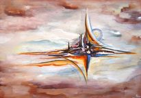 Magie, Welt, Himmel, Acrylmalerei