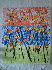 Orange, Blumen, Acrylmalerei, Grün