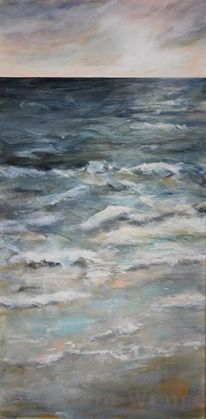 Acrylmalerei, Welle, Meer, Wolken