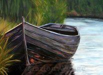 Boot, Wasser, Landschaft, Malerei