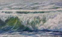 Malerei, Landschaftsmalerei, Brandung, Meer