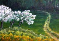 Weg, Frühling, Landschaft, Malerei