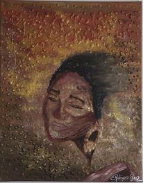 Frau, Braun, Gold, Acrylmalerei