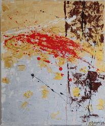 Acrylmalerei, Silber, Rot, Braun