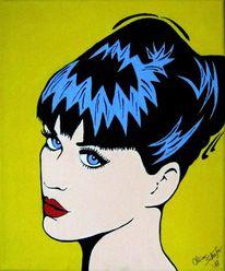 Blau, Acrylmalerei, Portrait, Rot schwarz