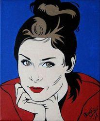 Lena meyer, Blau, Portrait, Acrylmalerei