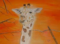 Baby, Giraffe, Ölmalerei, Afrika