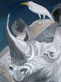 Putzervogel, Freunde, Ölmalerei, Nashorn