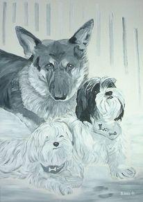 Grisaille, Malerei, 2011, Schäferhund