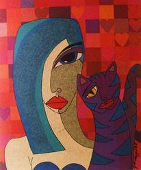 Mädchen, Katze, Collage, Illustration