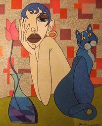 Mädchen, Blau, Katze, Gesicht