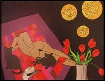 Notte, Nuda, Katze, Collage
