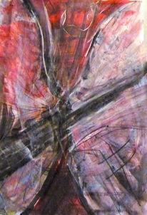 Rosa, Rot, Abstrakt, Mischtechnik