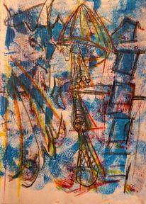 Blau, Abstrakt, Gelb, Mischtechnik