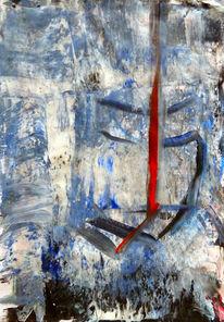 Blau rot abstrakt, Mischtechnik