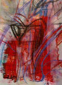Blau rot abstrakt, Mischtechnik, It