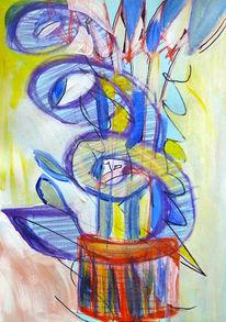 Blau, Abstrakt, Mischtechnik, Clown