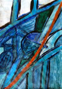 Abstrakt, Blau, Türkis, Rot