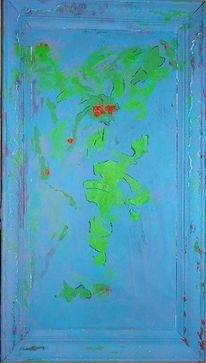 Blacklight activ, Turkies, Acrylmalerei, Blau