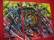 Blau, Abstrakt, Acrylmalerei, Gelb