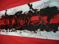Rot schwarz, Abstrakt, Malerei,