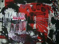 Rot schwarz, Silber, Acrylmalerei, Malerei
