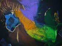 Acrylmalerei, Grün, Blau, Braun