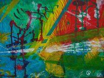 Acrylmalerei, Gelb, Gold, Rot
