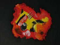 Acrylmalerei, Gelb, Weiß, Rot schwarz