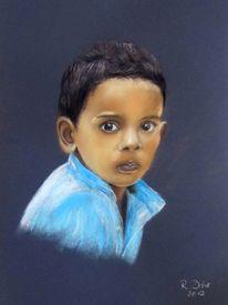 Junge, Ausdruck, Gesicht, Pastellmalerei