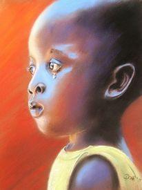 Weinen, Pastellmalerei, Kind, Junge