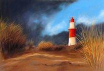 Gras, Leuchtturm, Strand, Wolken