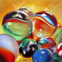 Glas, Murmel, Pastellmalerei, Malerei