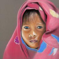 Augen, Portrait, Kind, Pastellmalerei