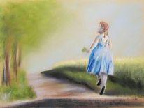 Mädchen, Glücklich, Pastellmalerei, Kind