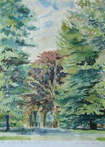 Pyrmont, Aquarellmalerei, Kurstadt, Baum