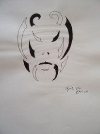 Maske, Teufel, Schwarz weiß, Abstrakt